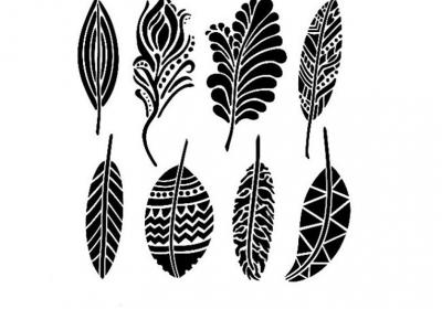 6 x 6 Mini Fancy Feathers Stencil