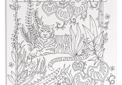 Johanna Basford Coloring Canvas Tiger 12 x 12