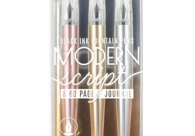 Ooly Modern Script Fountain 3 Pen & 60 Page Journal Set