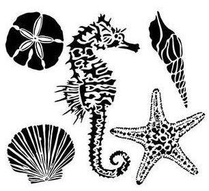 6 x 6 Mini Sea Creatures Stencil