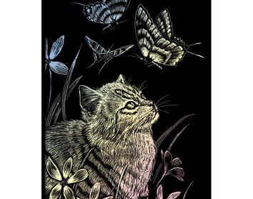 R&L engraving art small Kitten & Butterfly