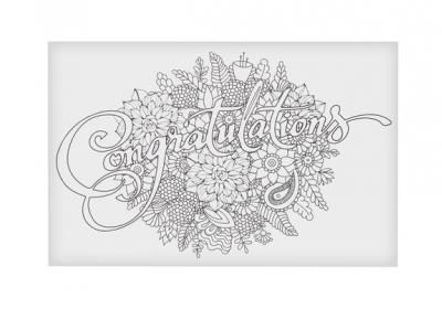 Coloring Postcard-Congratulations