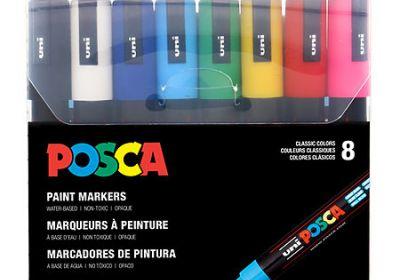 POSCA Acrylic Paint Marker Sets, 8-Color PC-1MR Extra-Fine Basic Set