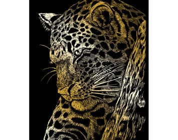 R&L engraving art small gold Leopard in Tree