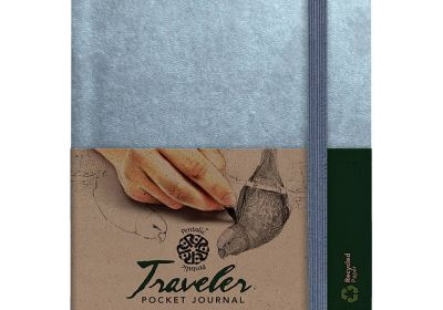 Pentalic Traveler Pocket Journal Metallic Silver Ruled 6x8