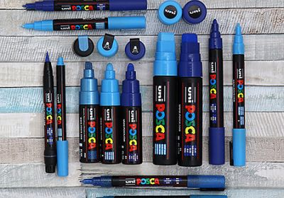 Posca Blue Brush Tip Acrylic Paint Marker