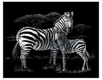 R&L  engraving art large Zebras