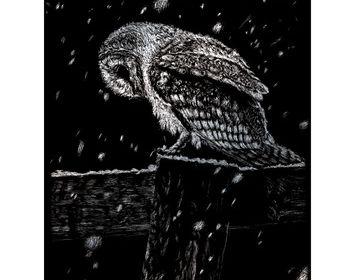 Silver Engraving Snowfall at Nightfall