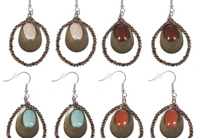 Copper Stone Earrings