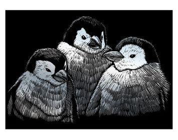 R&L engraving art small Penguin Chicks