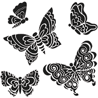Romantic Butterfly Stencil