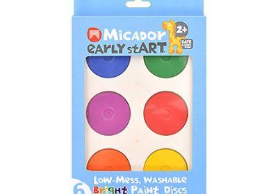 Low-Mess Washable 6-Color Paint Disc Sets, Bright Colors
