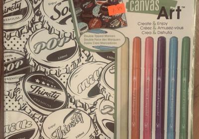 R&L canvas art Bottlecaps w/markers