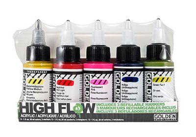 Golden  High Flow Acrylics & Refillable Marker Set, 8 Pieces