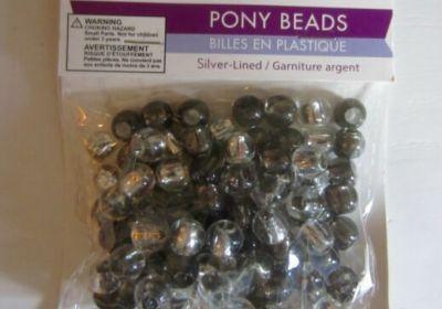CraftMedley Barrel Pony Beads Silver-Lined/Go Green