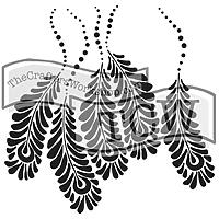 6 x 6  Stencil Mini Peacock feathers