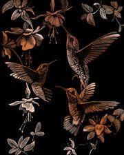 Copper Engrave Art Humming  Bird Trio