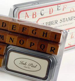 Cavallini & Co. Alphabet Stamps & Ink Pad
