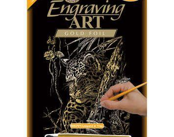 R&L engraving art leopard