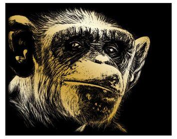 R&L Engraving Art Gold Chimp