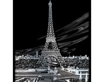 R&L  engraving art large Eiffel Tower